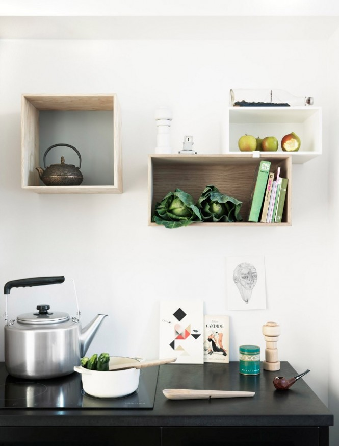 white kitchen box shelves