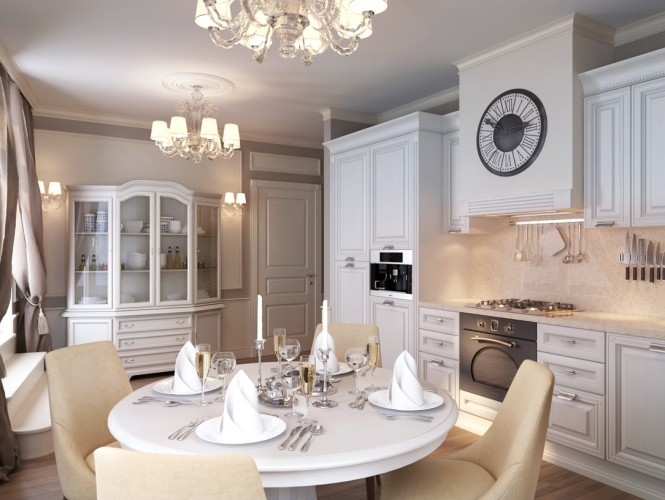 white traditional kitchen diner