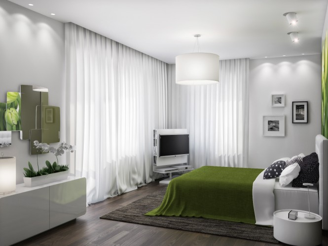 Green white bedroom scheme