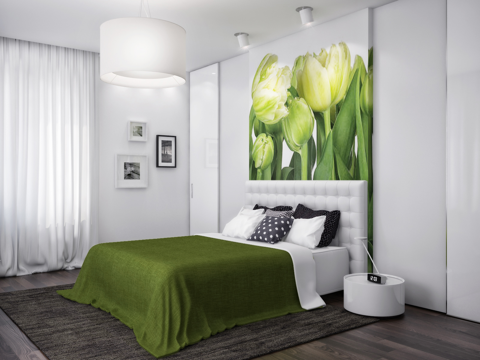 Green white nature bedroom for Green bedroom design