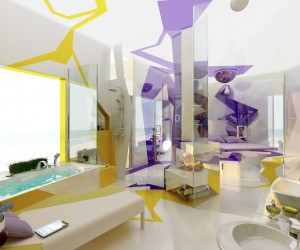 Purple yellow white bathroom layout idea