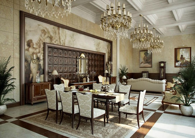 Traditional cream gold dining room