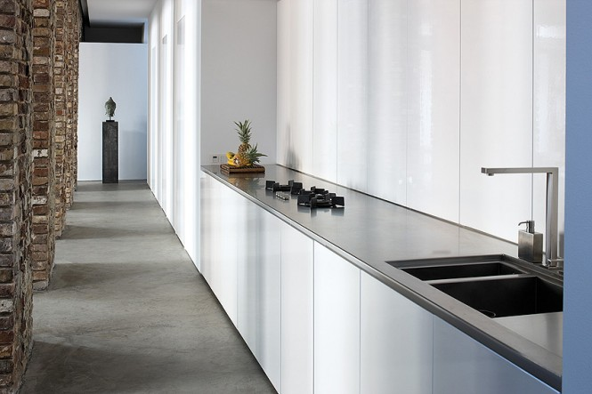 White gloss galley kitchen units