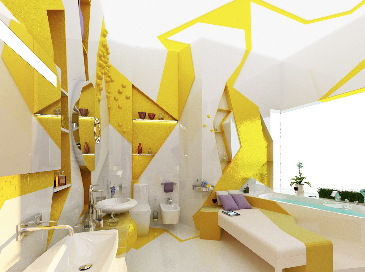 Yellow white decor compact apartment design - Home accessories yellow ...