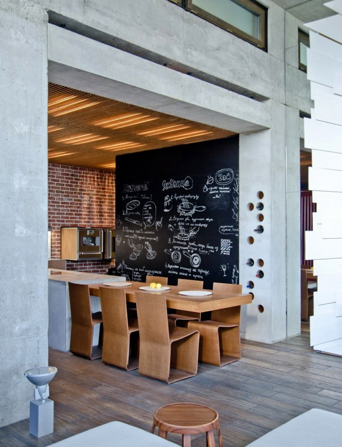 chalkboard feature wall kitchen