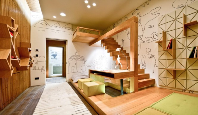 The kids bedroom takes on a cartoonists studio appeal, with fun illustrations strewn across every wall; the look continues in the bathroom where humorous, urban graffiti is tagged on cool concrete.