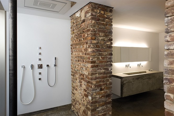 exposed brick bathroom scheme
