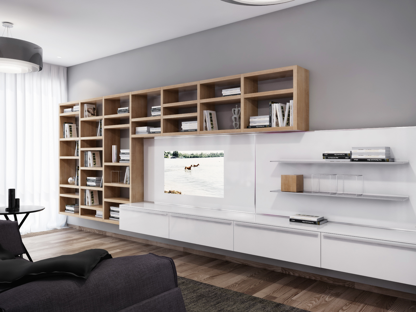 White entertainment wall unit - Modern entertainment wall unit ...