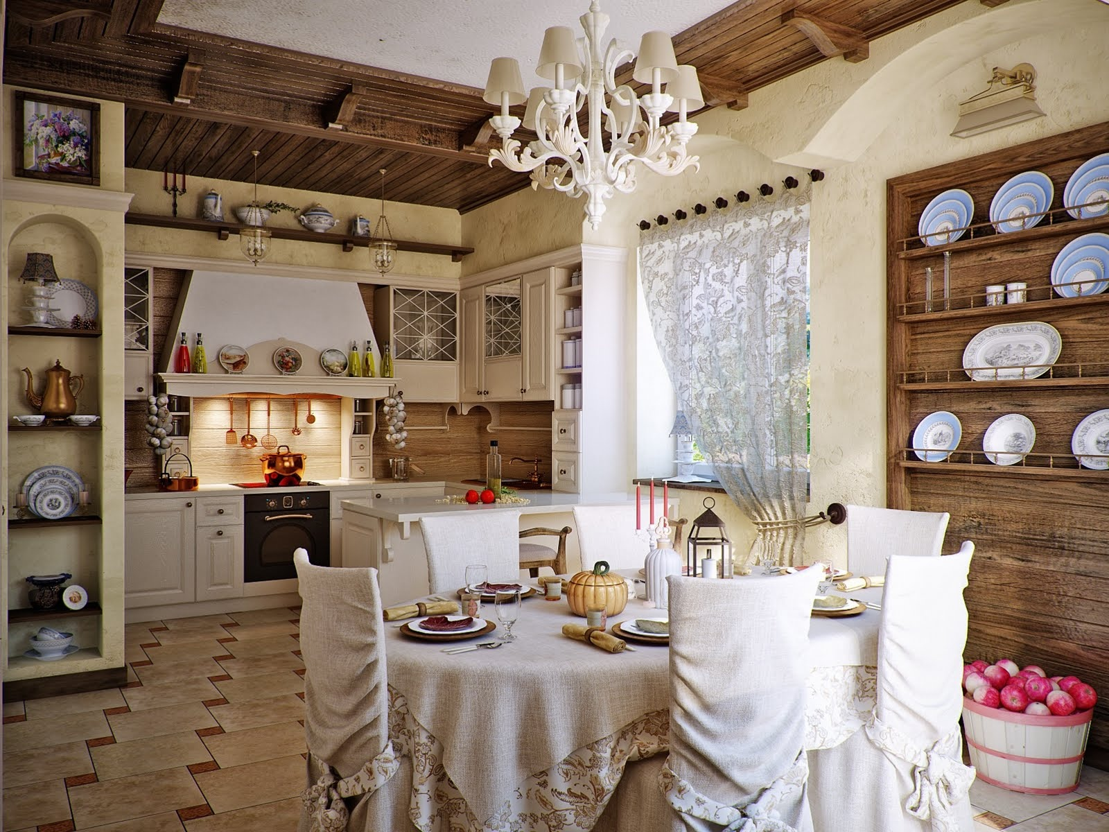 Kitchen Dining Designs: Inspiration and Ideas country chic kitchen ...