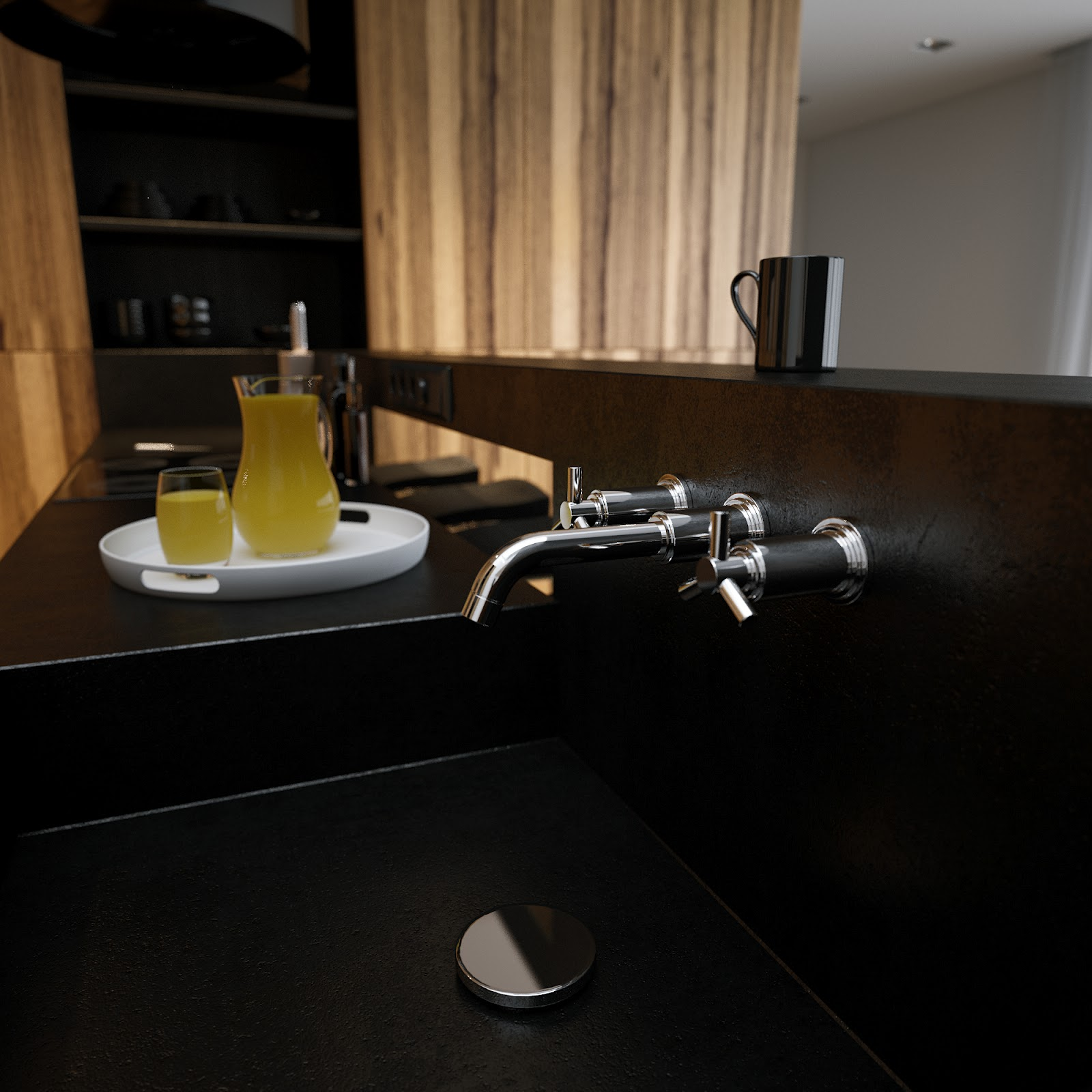 Black corian kitchen sink worktop for Corian sink accessories