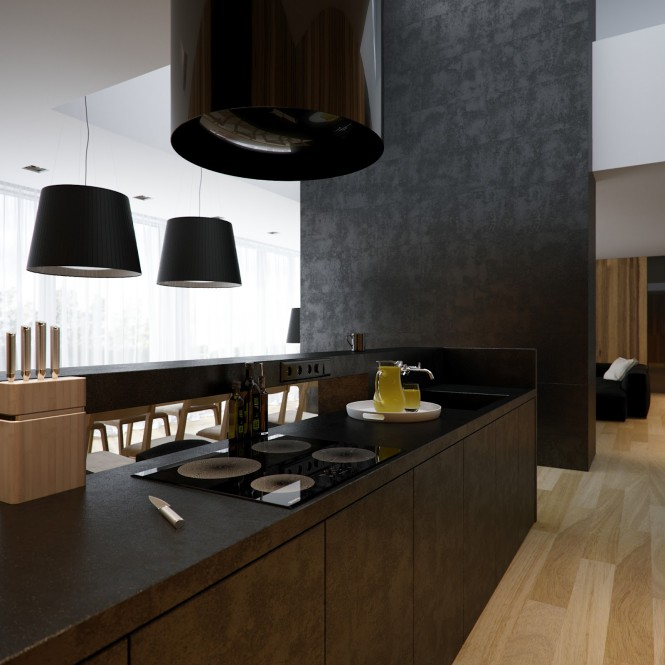 A black tubular island extractor fan reflects the design of the oversized pendant shades that hang throughout the home, and atop the standard lamps by the extensive modular sofa.