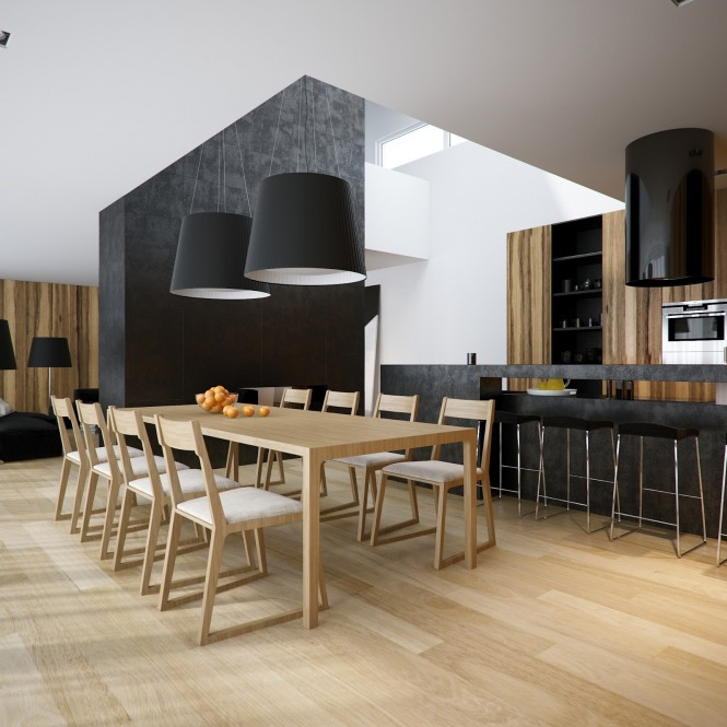 This second apartment design introduces bold wood grains into the mix, which brings great warmth and natural pattern to the home.