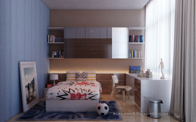 Via Blalank StudioThe palette in this teenage boys room is paired back to make way for loud bedcovers.