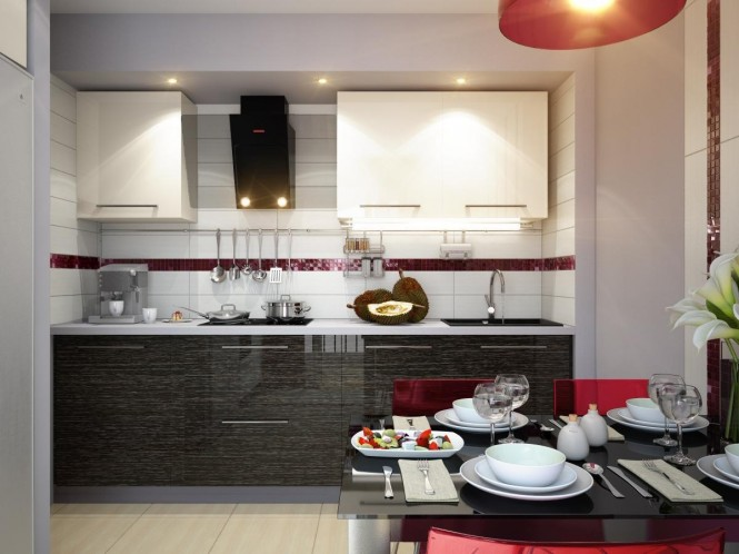 red white black modern kitchen dining decor style