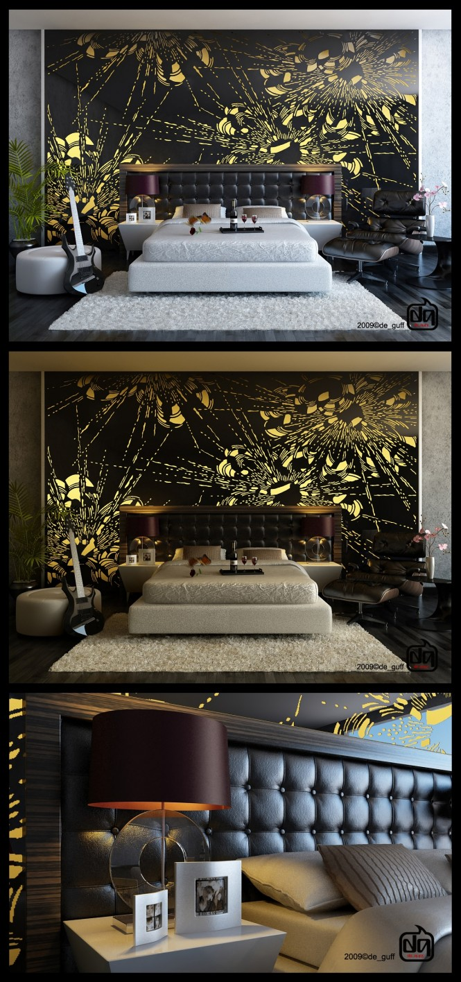 Via Willy GufronWhy not make your bedroom a work of art? This piece brings a playful and eye-catching splash to a quietly controlled layout.