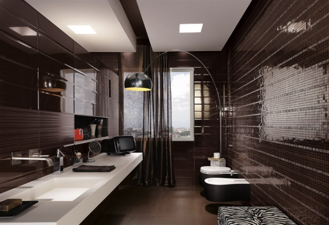 Black mosaic tiles maculine bathroom ideas