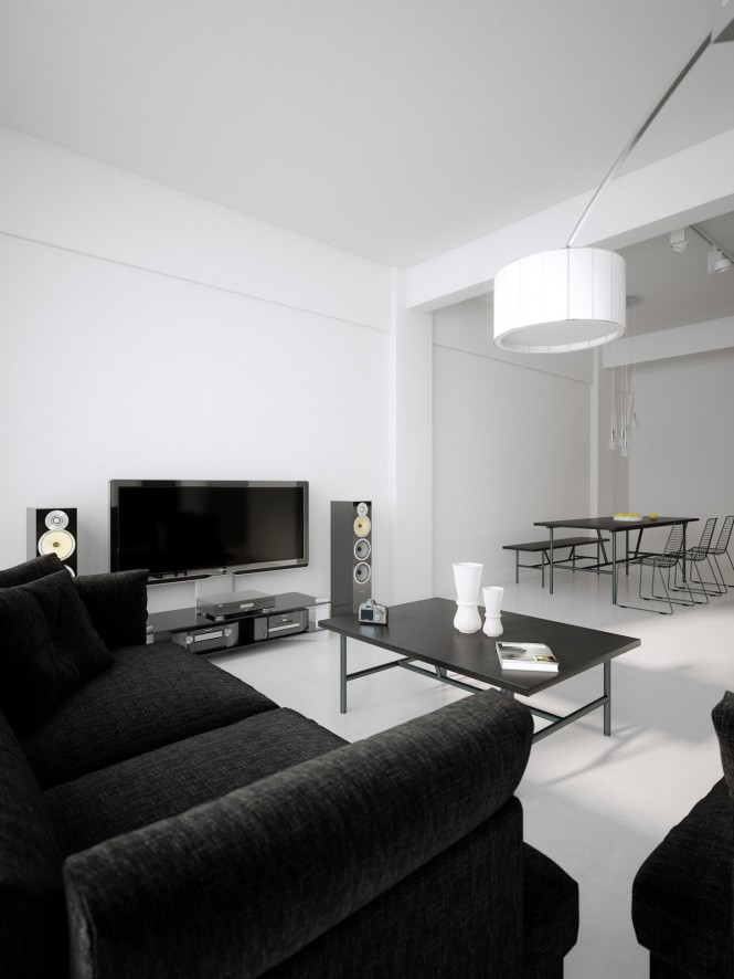 Black white living room diner