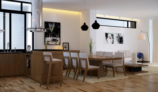 Black white oak dining suite kitchen lounge