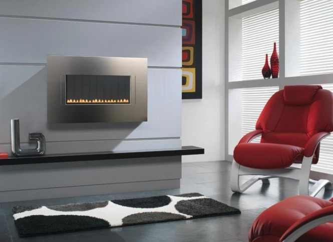 Modern metallic fireplace