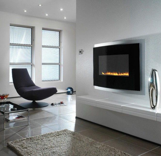 Modern wall mounted fireplace