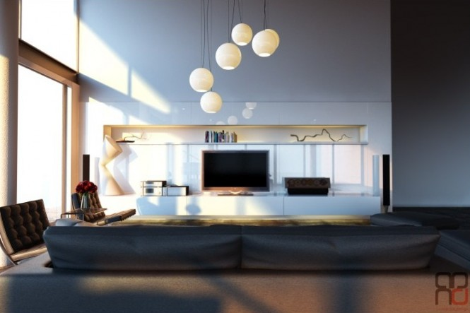 Modern white entertainment wall