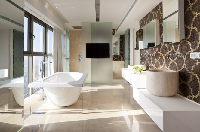 Mosaic tile bathroom suite