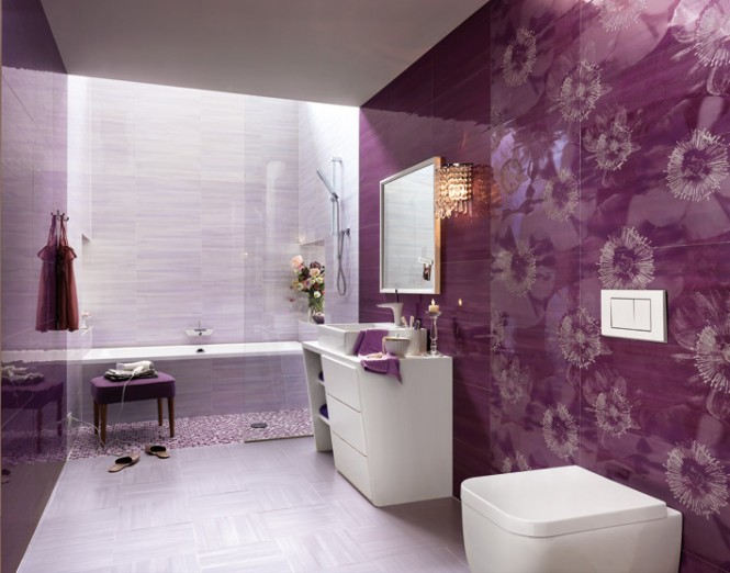 Purple white floral bathroom ceramic tile