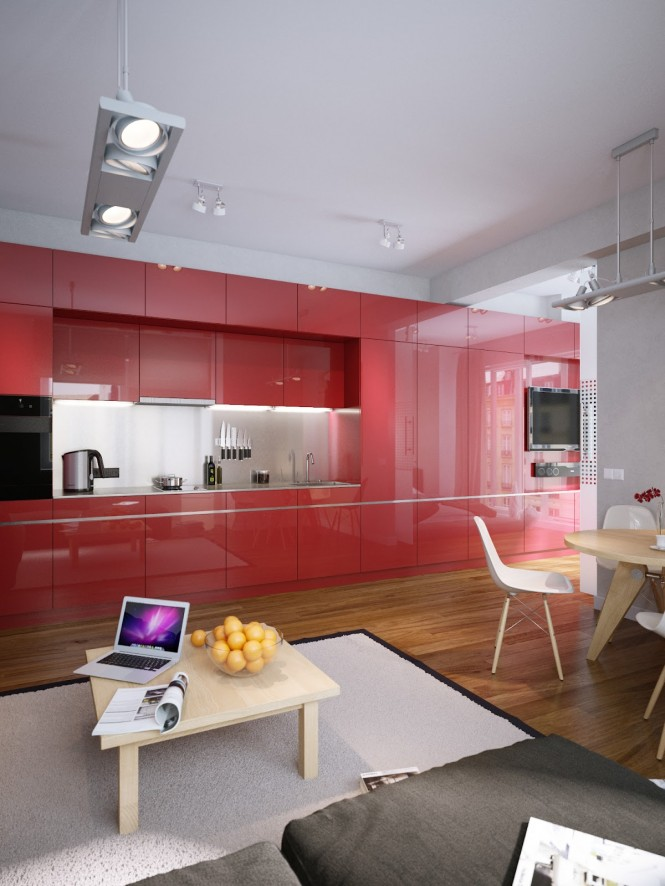 The strong statement of tomato red kitchen cabinets, which hit you as you enter the apartment, is taken into the other areas of the home in subtle threads; pieces of artwork above the dining table, the sofa, and even over the bed are dashed with matching shades, creating a continuous color story throughout the entire living and sleeping spaces, adding pops of interest to an otherwise simplistic scheme.