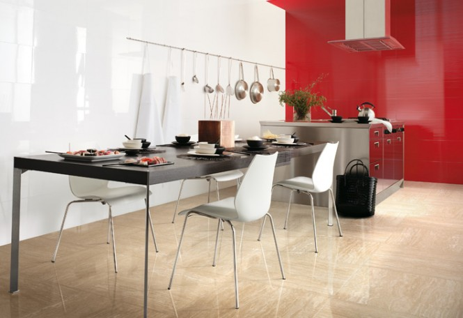 Red white cream kitchen gloss ceramic tile
