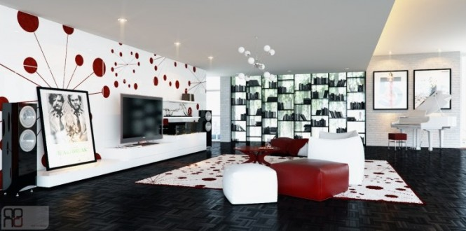 Red white graphic feature wall