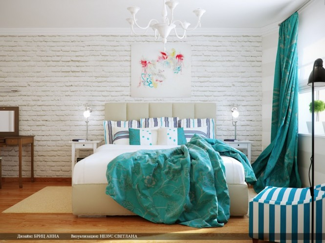 Turquoise white bedroom decor scheme