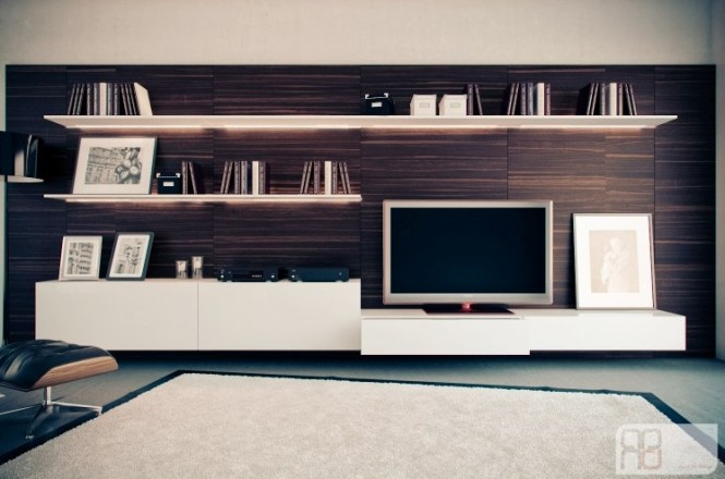 Walnut white entertainment wall