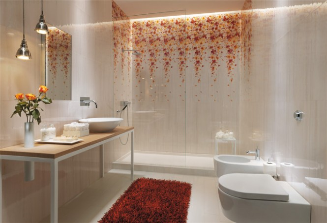 White floral bathroom tile design