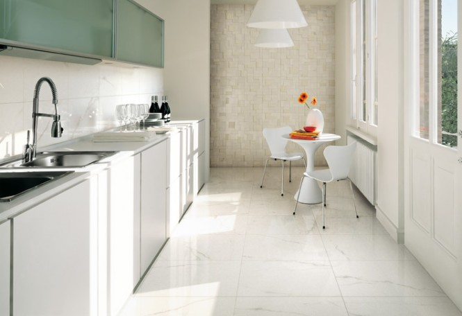 White kitchen ceramic tile textured wall