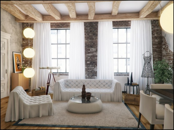 Via ProxyCombine different textures in your living space for extra impact, such as teaming an old original exposed brick wall with sheer floaty drapes, and deep pile soft area rugs. The unexpected combinations will create an interesting and cosy layered effect.