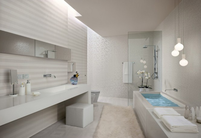 White stripe bathroom tiles