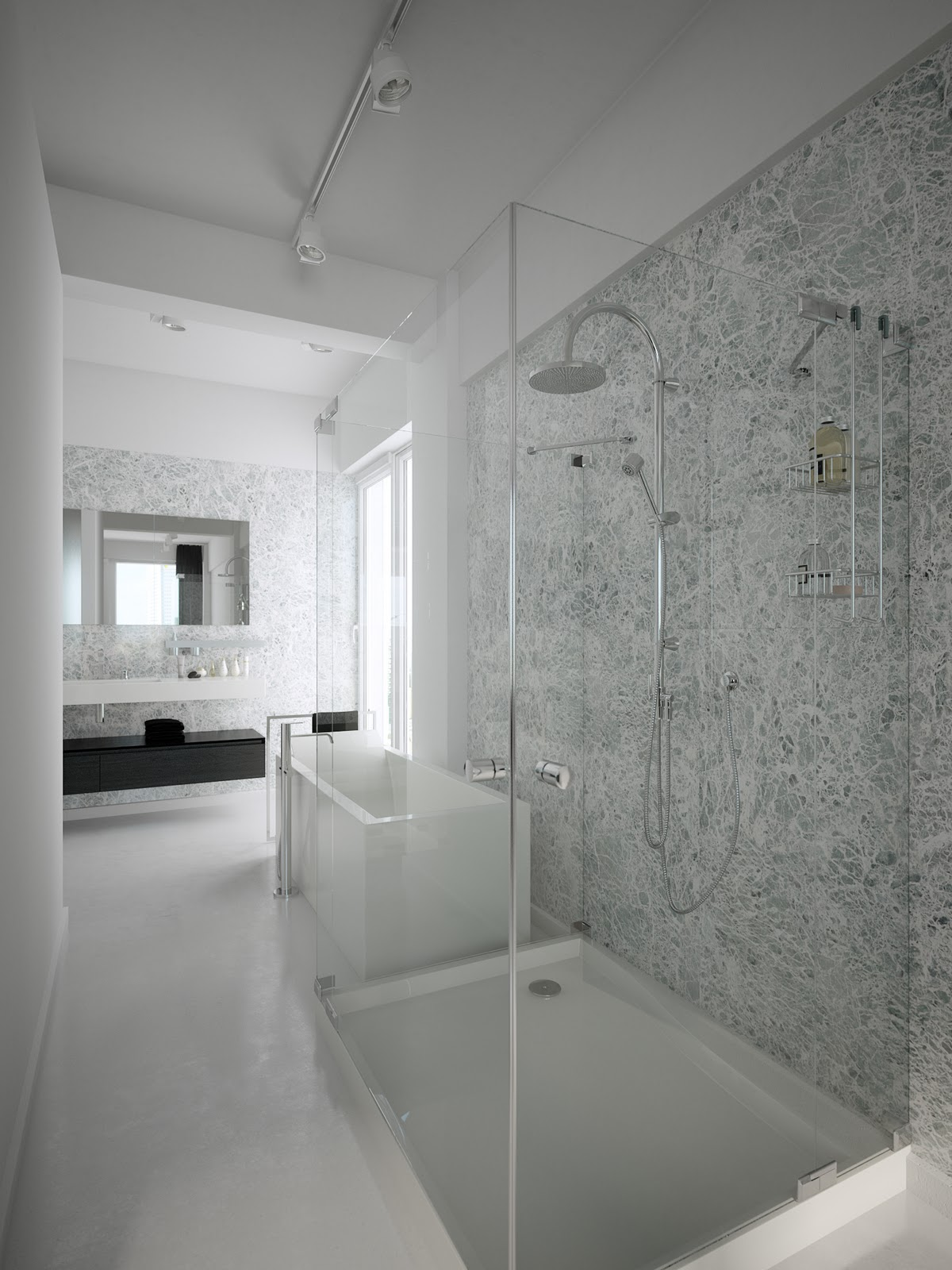 Black white shower room - White bathroom designs ...