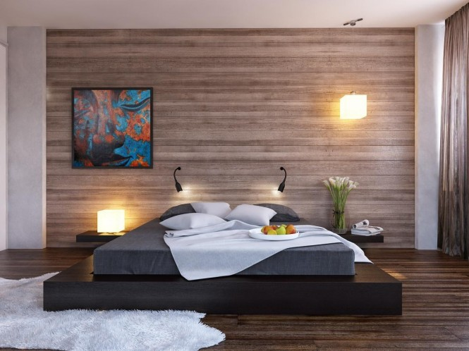 Above 2 via Happy IrenaWood clad walls, as seen on smart new build exteriors, work over expanses of interior walls too; an ideal application is a bedroom feature wall, where the warm material will create an impressive extension of your headboard.