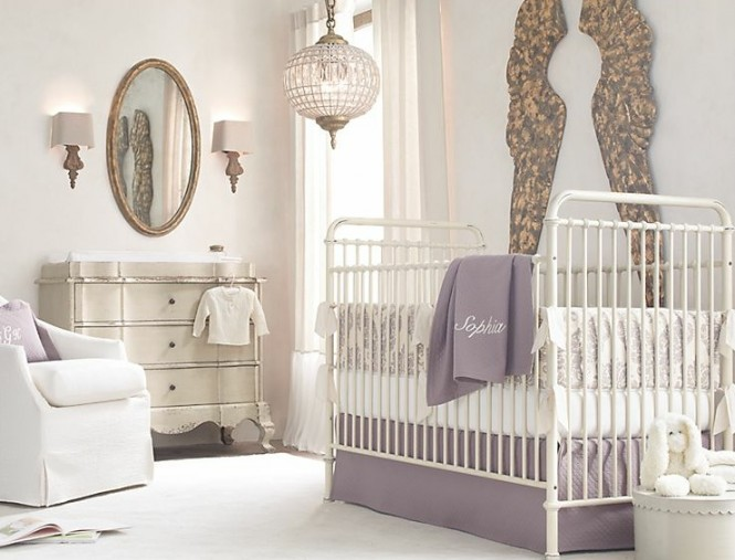 Lilac white baby room decor