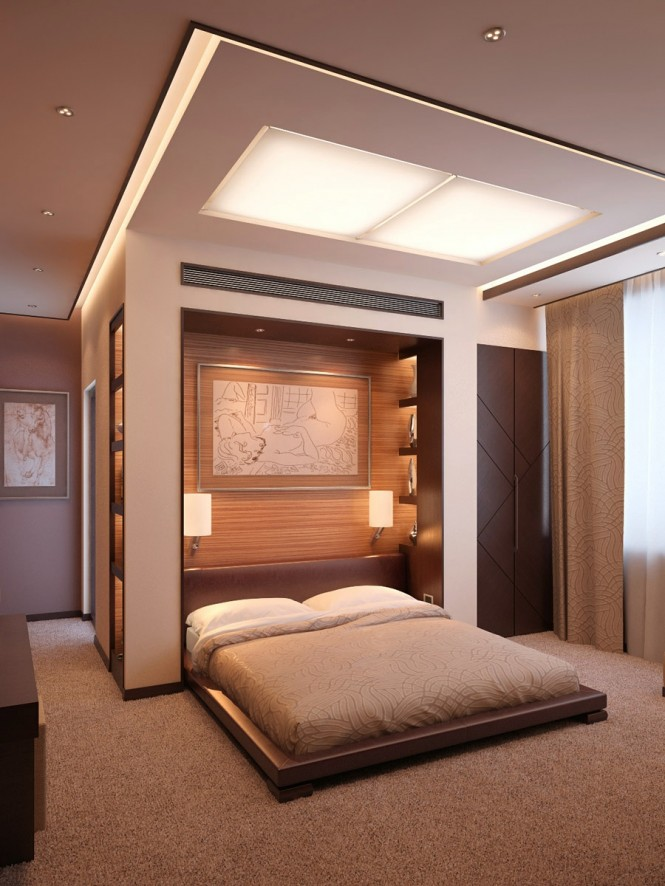 A ceiling treatment can be another effective extension of your bed, with grouped lighting or ceiling mounted panel to compliment and reflect the dimensions of the bed beneath.