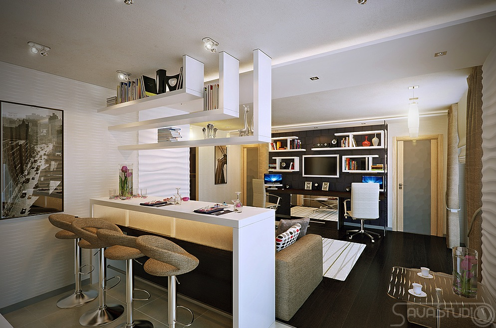 Modern Design in Modest Proportions White open plan kitchen lounge ...