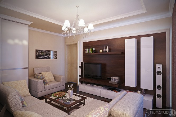 Cream living room colored accents