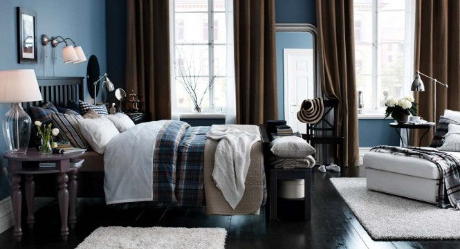 Blue brown white bedroom