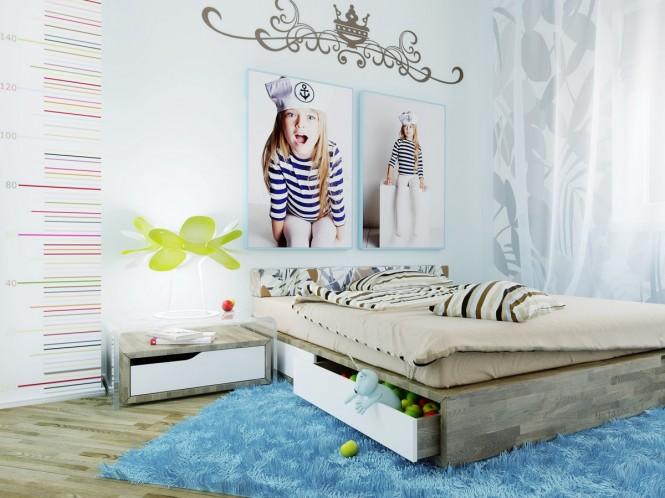 Via NatashaThis cool blue creation is a clear getaway from the pink princess palaces, but still pops with pretty detailing in the swirling wall decal and floral print textiles.