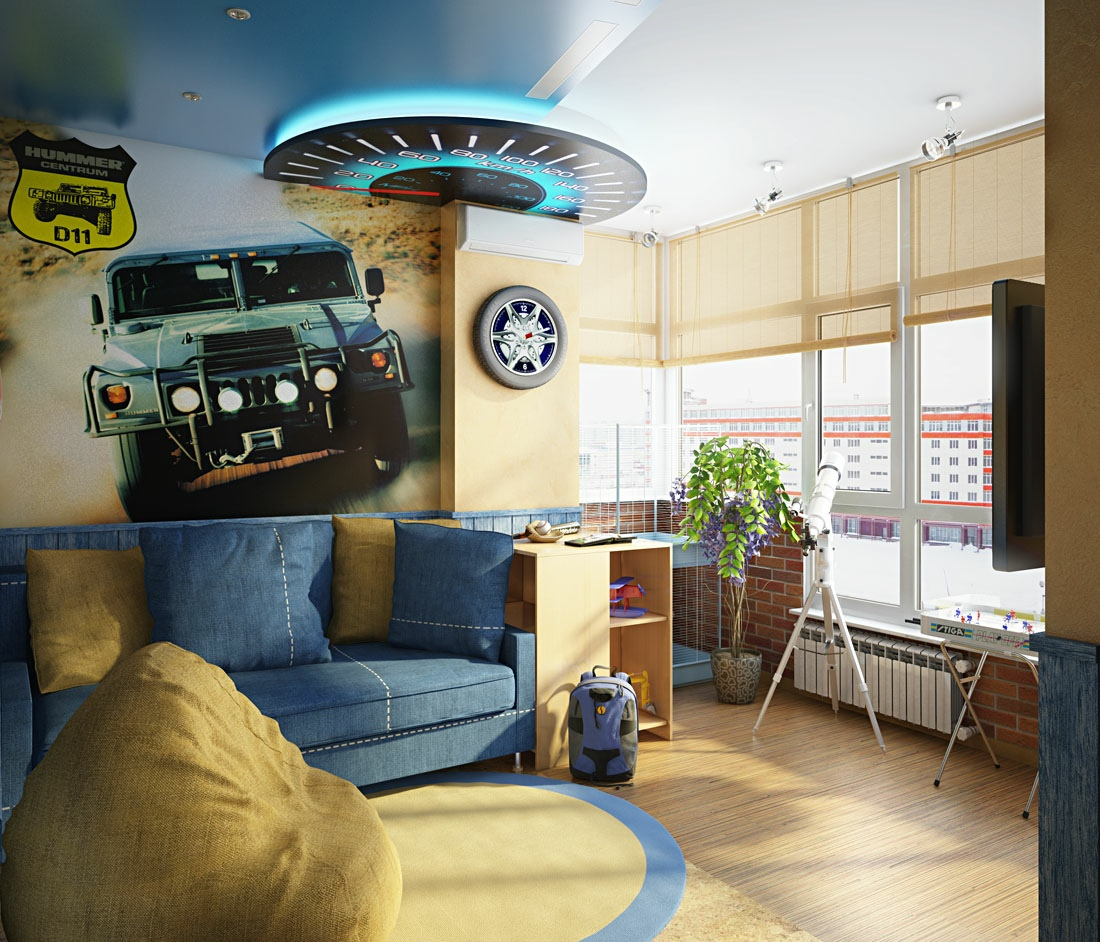 this car themed room exudes action in a extra new way too with a high