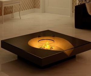 A low level central fireplace is reminiscent of a cozy patio fire pit, evoking fresh air summertime memories of roasting marshmallows and late night story telling.