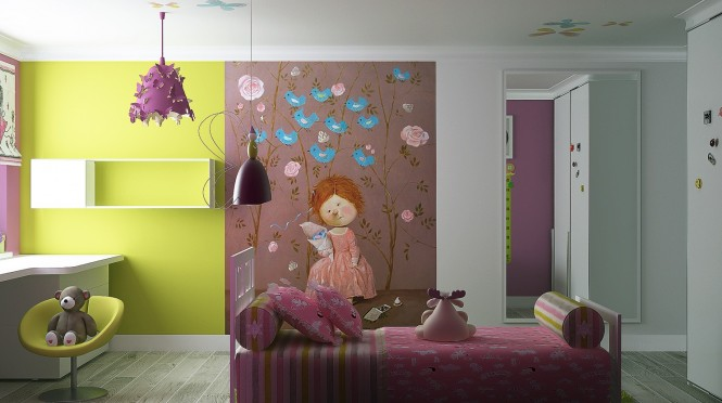 Via Kate ChelyustnikovaA character themed wall mural adds quirkiness to plain paintwork, gaining maximum impact from surrounding clashing colors.