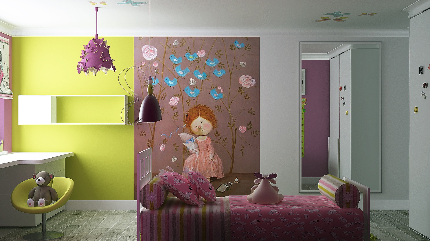 Idee Salle De Bain Original : Via Kate ChelyustnikovaA character themed wall mural adds quirkiness