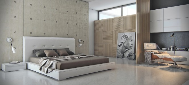 Via Armen GevorgyanThe cool concrete of this headboard wall offsets adjacent warmer wood tones.