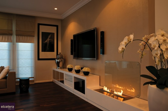 Open fronted, open topped contemporary fireplace solutions look fabulous in the home of a young professional couple who love to entertain friends and colleagues, but if young children are part of your life then this design is definitely not for you.